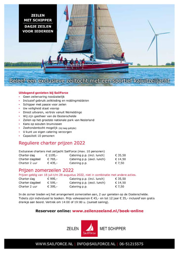 SailForce Prijslijst incl BTW (t.b.v. accommodaties en particulieren) NL-ENG-DUI