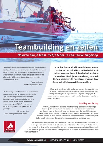SailForce Flyer teambuilding zeilen